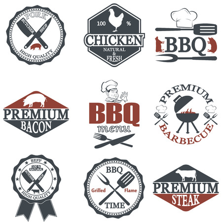 male pig: Set of butcher shop labels and design elements
