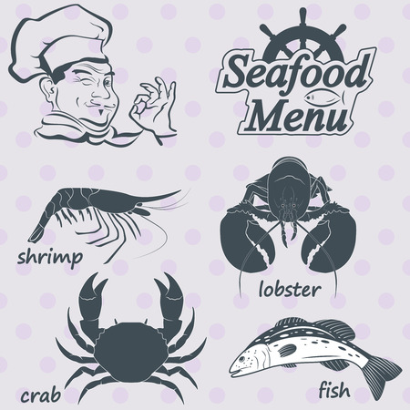 flounder: menu for the restaurant with seafood. Vector Illustration
