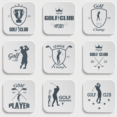 symbol sport: Set Weinlesegolf Etiketten, Abzeichen und Embleme Illustration