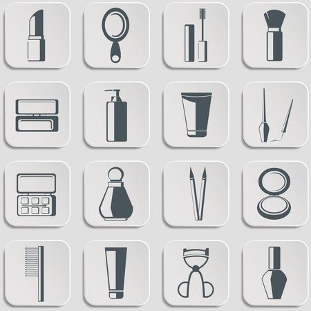 nail file: Cosmetics vector icons set on gray. Vector Illustration