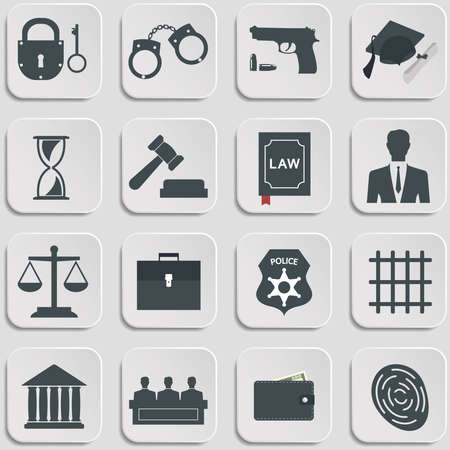 court symbol: Set of law and justice flat icons. Vector Illustration Illustration