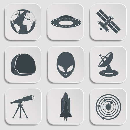 Flat illustration of various space elements.Vector Illustration