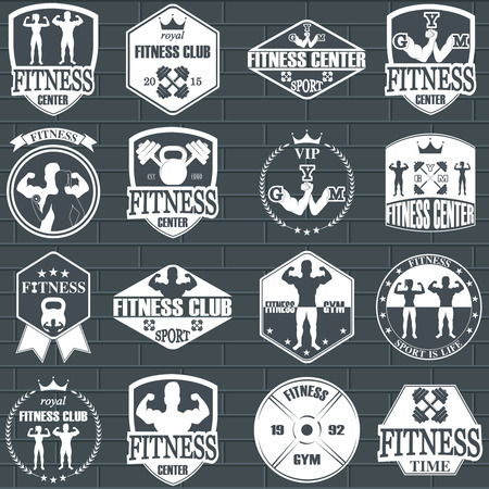 body woman: Fitness gym icons. Athletic labels and badges