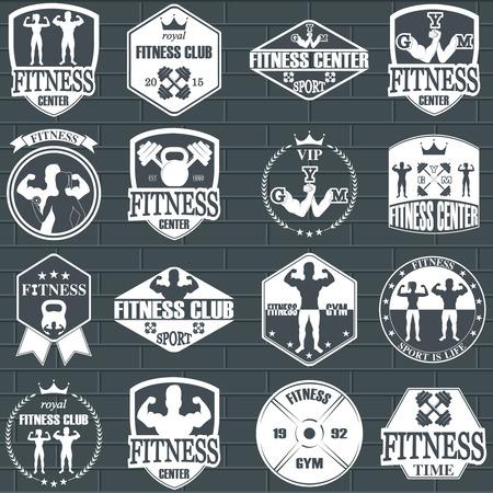 levantar pesas: Iconos gimnasio de fitness. Etiquetas atléticos e insignias Vectores