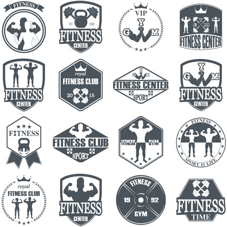 gym: Fitness gym icons. Athletic labels and badges