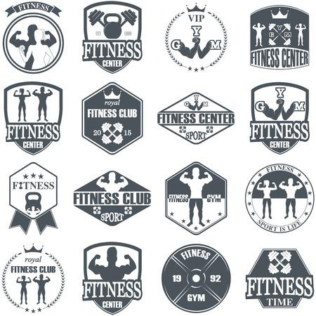 atletismo: Iconos gimnasio de fitness. Etiquetas atléticos e insignias Vectores