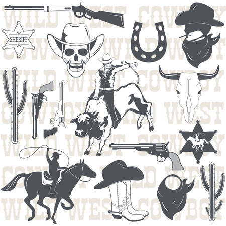 cowboy gun: Set of wild west cowboy designed elements. Vector Illustration