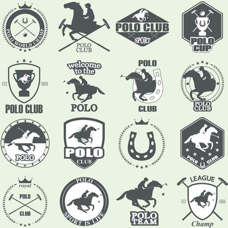 carreras de caballos: Conjunto de polo a caballo etiquetas y escudos de los clubes de la vendimia Vectores