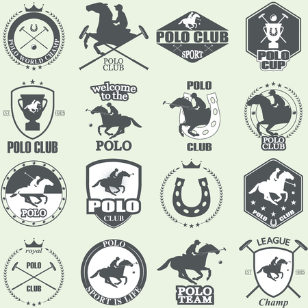horses: Set of vintage horse polo club labels and badges