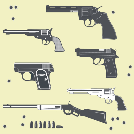 bullet hole: Guns collection set of Bullet. Bullet Hole Illustration