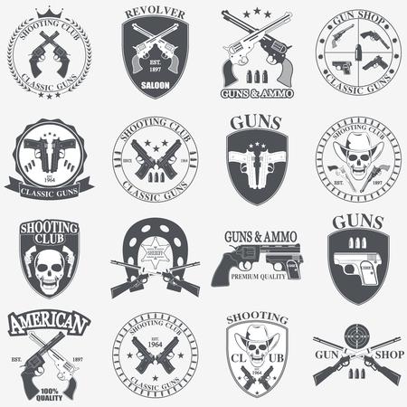 pistola: Clásicos armas emblema con pistolas ilustración