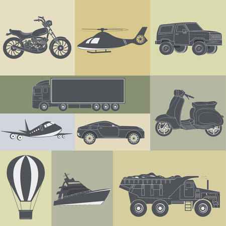 means of transport: vector illustration of set of means of transport Illustration