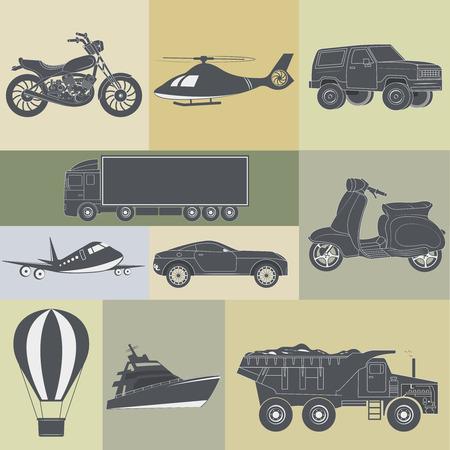 means: vector illustration of set of means of transport Illustration