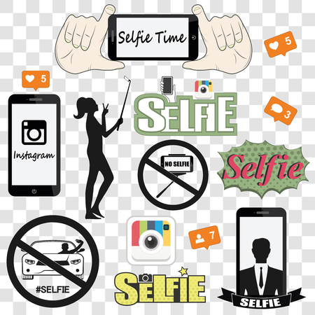 smartphone hand: Selfie graffiti speech retro background vector illustration graphic