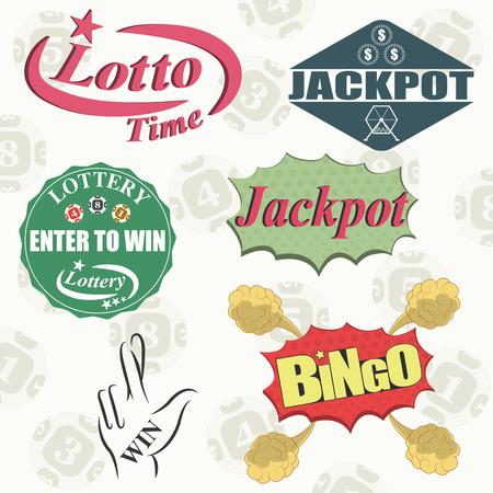 loteria: Loter�as y apuestas dinero del juego conjunto de iconos aislados ilustraci�n vectorial Vectores