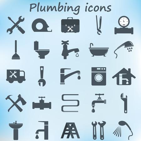 cañerías: Plomería iconos planos de diseño. Ilustración vectorial Vectores