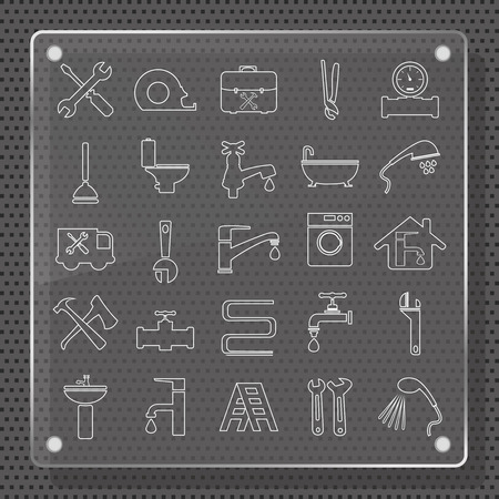 ed: plumbing objects and tools icons - vector icon set