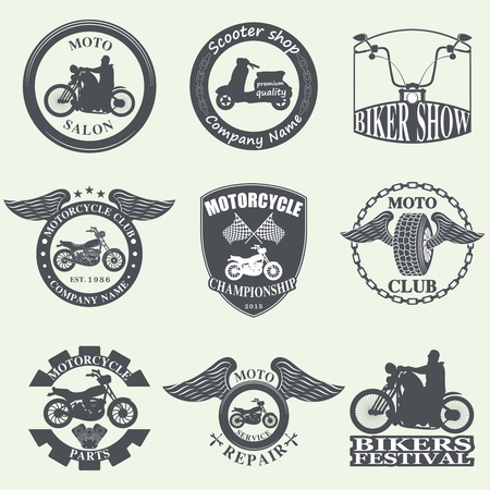 motorcycle racing: Badges, emblems Motorcycle Collections vector logo set
