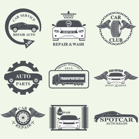 tyre: Set of car service labels, emblems and design elements