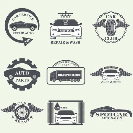 fix gear: Set of car service labels, emblems and design elements