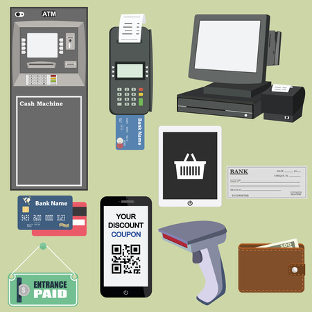 credit card payment: Flat concept vector illustrations set of payment methods such as credit card, nfc, mobile app, atm, terminal, website, bank transfer, cash and invoice