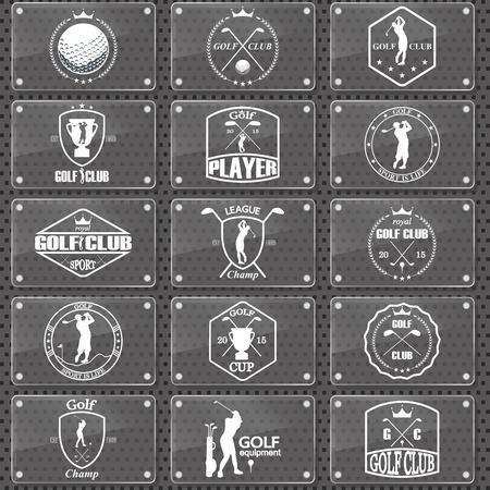 Set of vintage golf labels, badges and emblems
