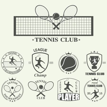 keds: Vector illustration of various stylized tennis icons Illustration