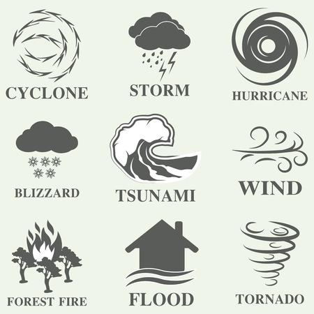 viento: Iconos del desastre natural conjunto negro con nieve tsunami tormenta aislada ilustraci�n vectorial