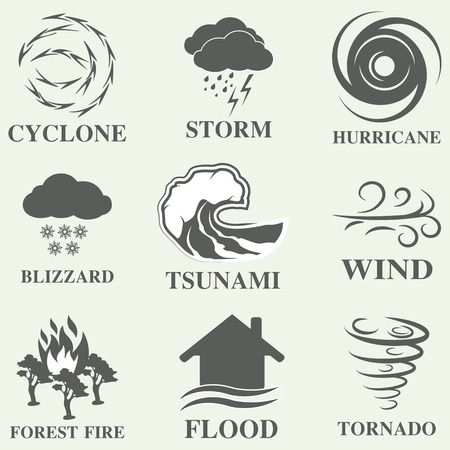 hurricane: Natural disaster icons black set with tsunami snow storm thunder isolated vector illustration