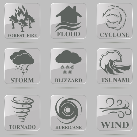 thunder storm: Natural disaster icons black set with tsunami snow storm thunder isolated vector illustration