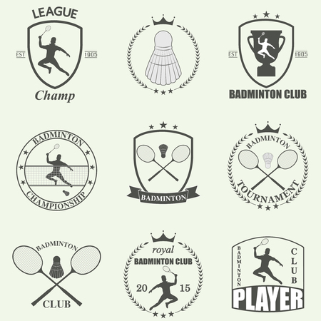 badminton racket: Badminton labels and icons set. Vector Illustration