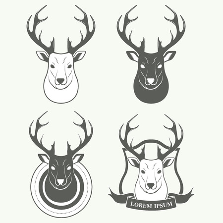 reindeers: Deer silhouette standing on white background. Vector logo Illustration Illustration