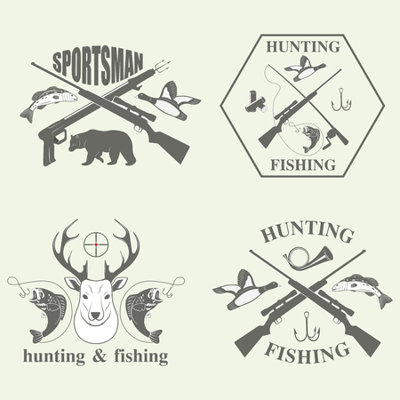 goose club: Set of vintage hunting and fishing labels and design elements