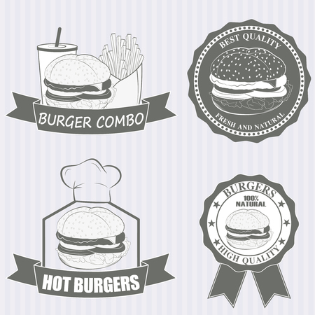 cucumber slice: Fast food hamburger doodle set. vector illustration