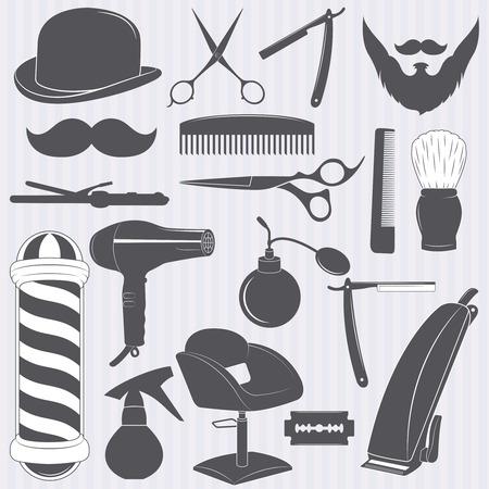 secador de pelo: colecci�n de herramientas de la barber�a, un conjunto de instrumentos de la barber�a