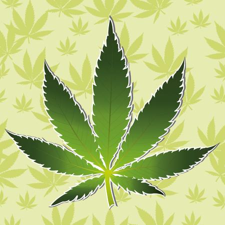 ganja: Vector cannabis leaf on white background. Marijuana Illustration