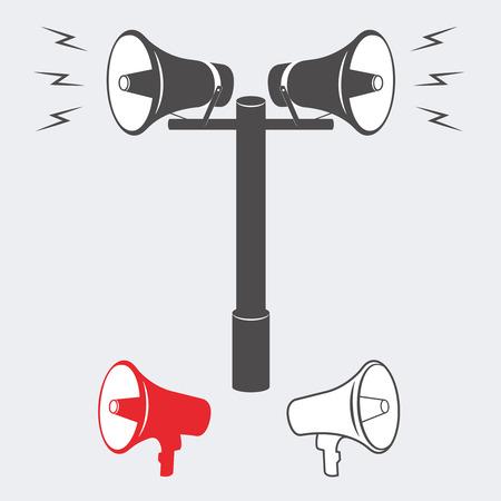 orador: Ilustración vectorial de altavoces con un anuncio o un sonido de alarma. Altavoz vector o de alarma. Dos altavoces de alarma o aviso industriales