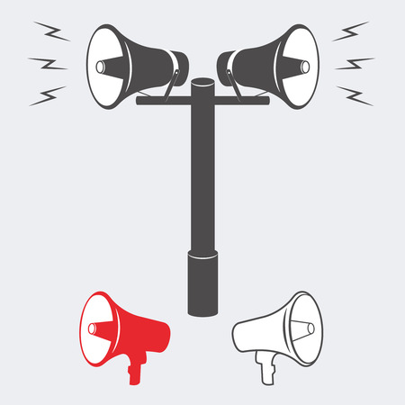 sounding: Vector illustration of speakers with an announcement or alarm sounding. Vector Speaker or Alarm. Two industrial Alarm or announcement speakers Illustration