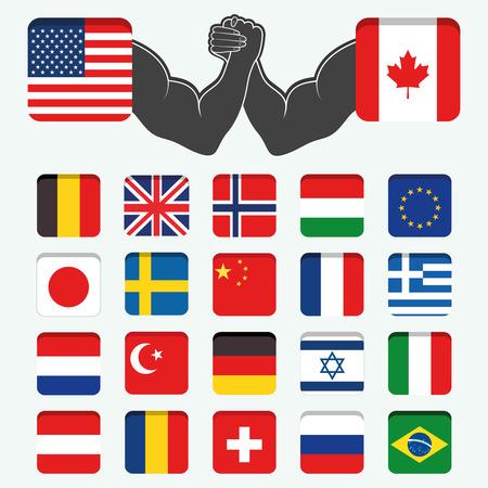 flag england: Conjunto de Ronda estados superiores Banderas mundo