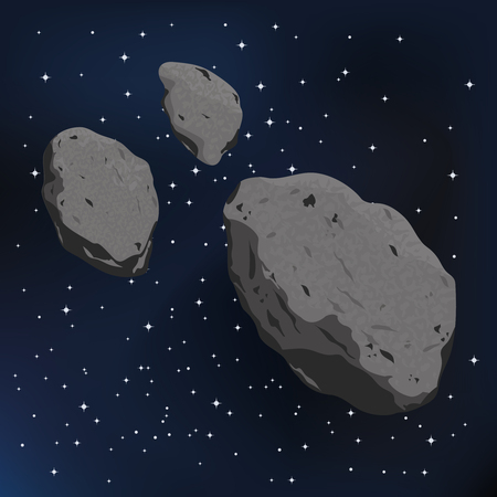 cosmology: vector illustration of an asteroid and meteorite. Falling Meteorite with asteroid icon illustration