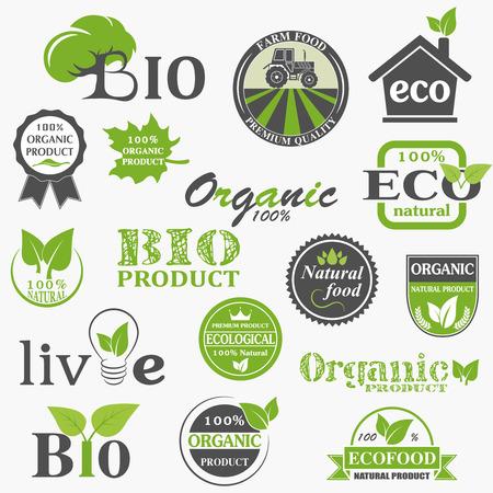 design elements: Natural organic product labels, emblems and badges. Set of design elements