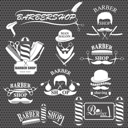 secador de pelo: Barbershop tool collection, set of barbershop instruments