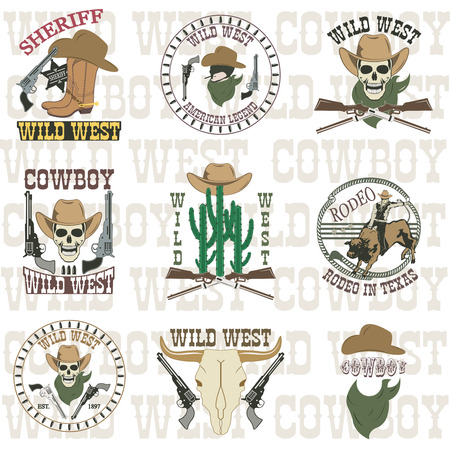 cowboy gun: Set of wild west cowboy designed elements Illustration