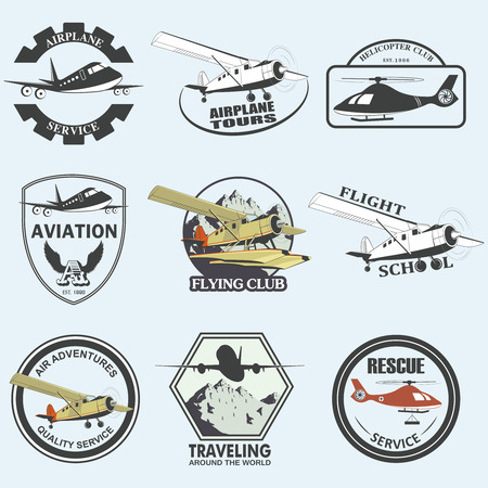 aeronautics: Set of vintage retro aeronautics flight badges and labels