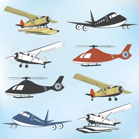 throttle: Set of vintage retro aeronautics flight badges and labels