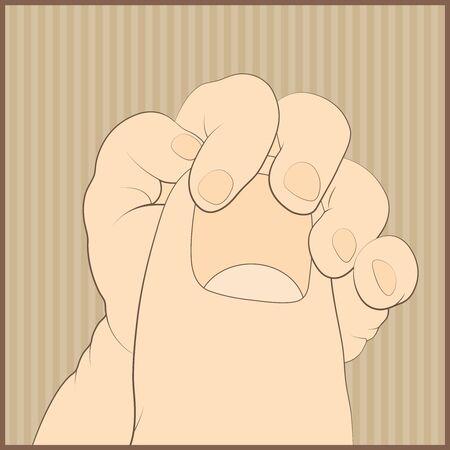 corazon en la mano: Mano del bebé que sostiene suavemente ilustración vectorial dedo de un adulto