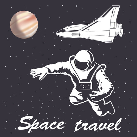 astronaut in space: astronaut illustration to space travel vector emblem isolated