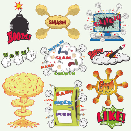 blank bomb: Set of Retro Comic Book Vector Design elements, Speech and Thought Bubbles