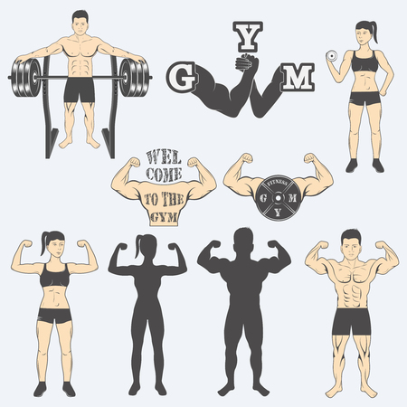 body shape: Vintage Weight Lifting Labels and Stickers. Gym logotypes Illustration