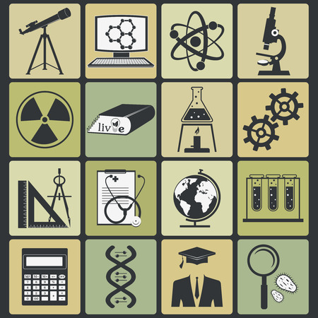 computer scientist: set of science stuff icon. Vector illustration